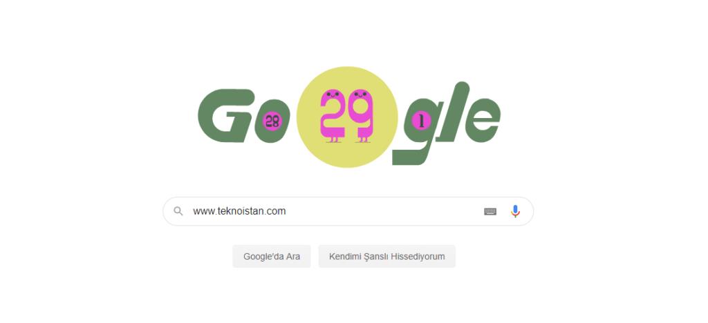 """Google """"29 Şubat"""" Artın Gün"""